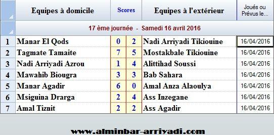 Ligue Sous Futsal 3eme Division 2015-2016_j17
